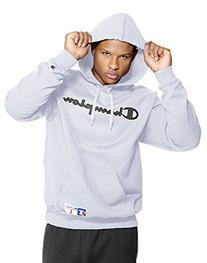 Champion Men's Retro Graphic Pullover Hoodie, Silver Grey, X
