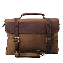 Hynes Eagle Vintage Canvas Leather Messenger Bag Coffee