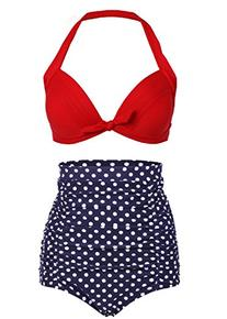 Cocoship Retro Red Top and White Polka High Waisted Bikini