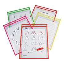 C-Line Reusable Dry Erase Pockets, 9 x 12 Inches, Assorted