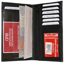 RFID Blocking Checkbook & ID Holder Wallet BLK #RFID853