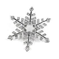 BERRICLE Rhodium Plated Base Metal Snowflake Fashion Brooch