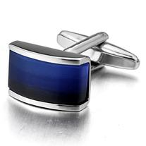 INBLUE Men's 2 PCS Rhodium Plated Cufflinks Silver Tone Blue