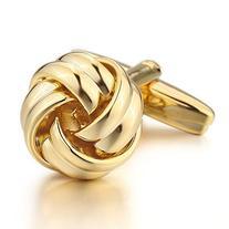 INBLUE Men's Rhodium Plated Cufflinks Gold Love Knot Shirt