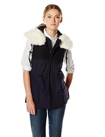 French Connection Women's Rhumba Nylon Faux Fur Collar Vest