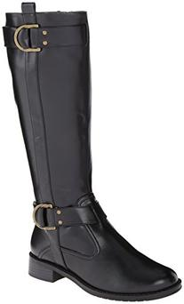 Aerosoles Women's Ride Line Riding Boot,Black Polyurethane,8