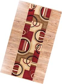 Deco Rings Red Geometric Modern Casual Rug 3x10  Easy to