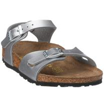 Birkenstock Boys' Rio Silver Birko Flor Sandals 27 N EU