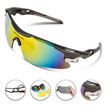 RIVBOS 802 Polarized Sports Sunglasses with 5 Set