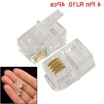 uxcell 4 Pcs 4 Pin RJ10 4P4C Connector Clear for Handset