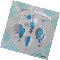 Robins Egg Blue & Grey Felt Hot Air Balloon Baby Mobile-
