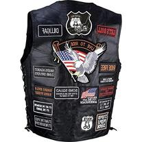 Diamond Plate Rock Design Genuine Buffalo Leather Biker Vest
