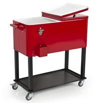 Best Choice Products 80-Quart Rolling Cooler Cart w/Bottle