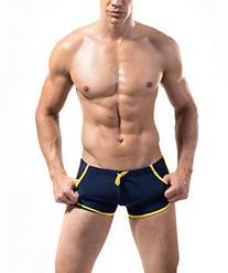 DESMIIT Men's Rope Waist Design Swimming Shorts ,021# Navy
