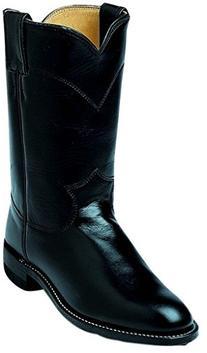 Justin Ladies Roper 10in Black Kipskin Boots 6.5