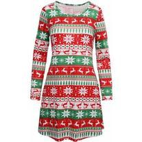 Rotita Christmas Long Sleeve Snowflake Reindeer Xmas Swing