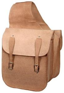 Rough Out Leather Saddle Bag with Double Buckle Closure