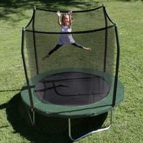8' Round Trampoline with Safety Enclosure Pad Color: Green