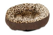 Aspen Pet Round Animal Print Pet Bed for Small Dogs and Cats