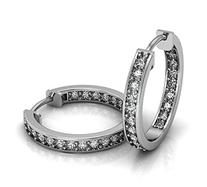 1.60 ct Ladies Round Cut Diamond Hoop Huggie Earrings In 14
