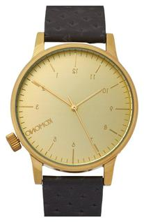 Men's Komono 'Winston' Round Leather Strap Watch, 42Mm