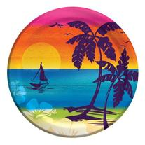 Creative Converting 8 Count Round Lunch Plates, Luau Aloha