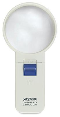 Lighted Pocket Magnifier3in. Round Hand Held4X Aspheric Re