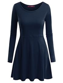 Doublju Round Neck Flared Skater Tunic Dress  NAVY LARGE