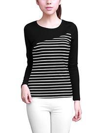Allegra K Women Round Neck Long Sleeve Stripes Tee Shirt