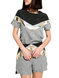Women's Round Neck Shirt w High Waist Shorts Two Piece Set
