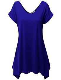 Doublju Womens Short Sleeve Cut-Out Shoulder Tunic Blouse