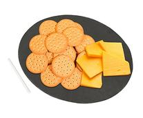 Round Slate Cheese Board and Serving Tray with Slate Chalk