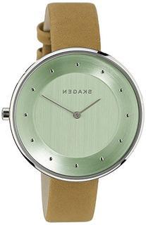Women's Skagen 'Gitte' Round Slim Leather Strap Watch, 38mm