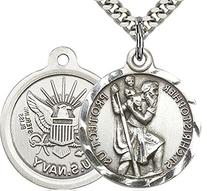 Men's Round Sterling Silver St. Christopher Navy Medal + 24