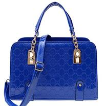 Coofit Royal Blue New Fashion Womens PU Leather Padlock Tote