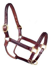 Tough 1 Royal King Braided Leather Halter, Brown