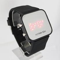 YouYouPifa Unisex's Rubber Strap Quartz Square LED Watches