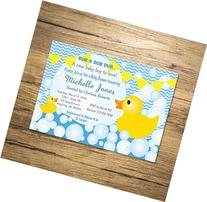 Rubber Ducky Boy Baby Shower Invitation, Custom Blue Chevron