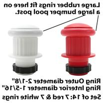 Large Rubber Rings for Bumper Pool Table: 7 Red and 7 White