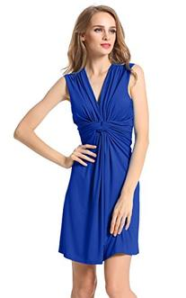 ACEVOG Women's Ruched Drape Twist Knot Mini Dress Sleeveless