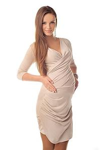 Maternity Ruched Side V Neck Dress Pregnancy Wear 6408