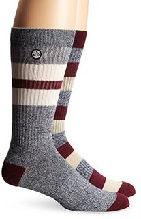 Timberland Men's 2 Pack Rugby Stripe Cotton Crew Sock,