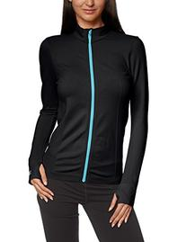 Zensah Women's Running Jacket, Black/Aqua Zip, Large