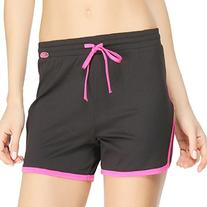 Yvette Women's Running Sports Shorts #8027, Black/Rose, XXL