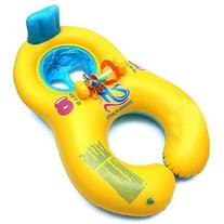 Safe Inflatable Mother Baby Swim Float Raft Kid's Chair Seat