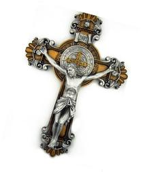 St. Saint Benedict Crucifix 2 Tone Wall Cross 10 Inch