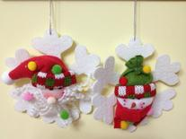 Santa Claus, Snowman Snowflake Ornament SET of 2 Assorted -
