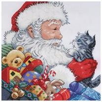 Santa & Kitten Counted Cross Stitch Kit-13X13 14 Count