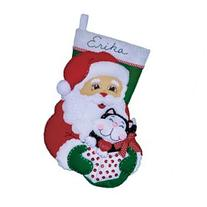 Santa & Kitten Stocking Felt Applique Kit-16 Long