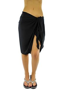 Luxury Divas Black Sarong Knee Length Georgette Beach Wrap